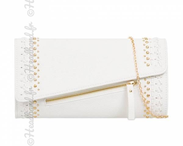 Pochette cloutée à zip blanche
