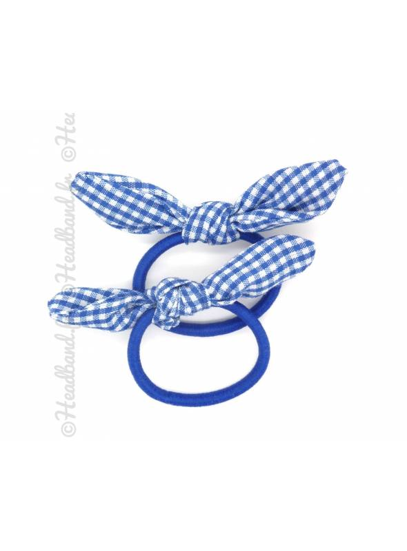 Chouchou noeud vichy bleu roi