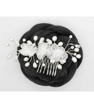 Peigne triple fleurs blanches