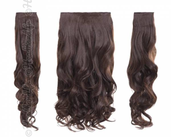 Kit extensions cheveux 3 bandes ondulées 50 cm - Châtain chocolat