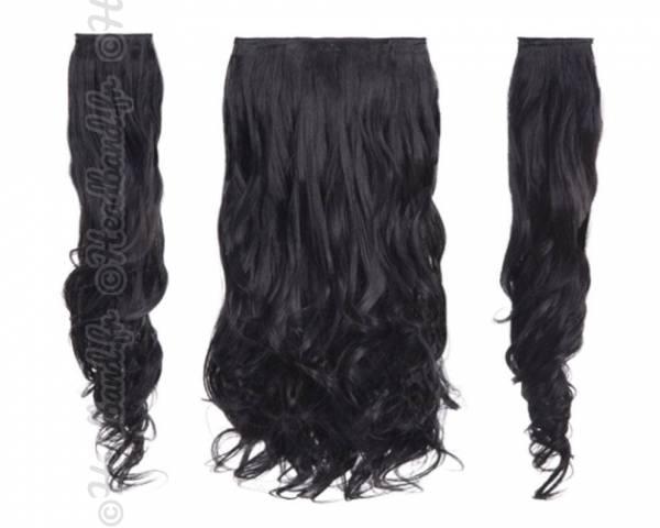 Kit extensions cheveux 3 bandes ondulées 50 cm - Noir
