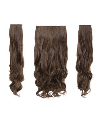 Kit extensions cheveux 3 bandes ondulées 50 cm - Noisette