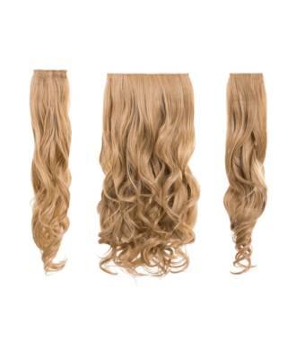 Kit extensions cheveux 3 bandes ondulées 50 cm - Blond miel