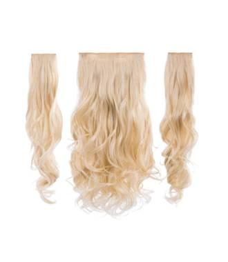 Kit extensions cheveux 3 bandes ondulées 50 cm - Platine