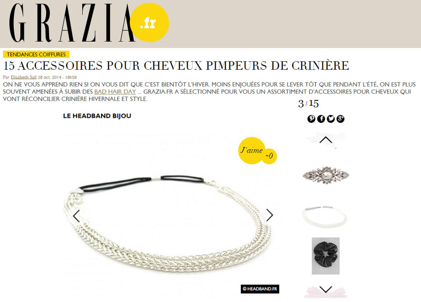 Notre headband bijou sur Grazia.fr