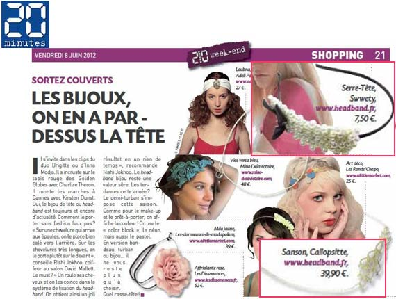 Parution headband.fr dans le 20 minutes du 8 juin 2012