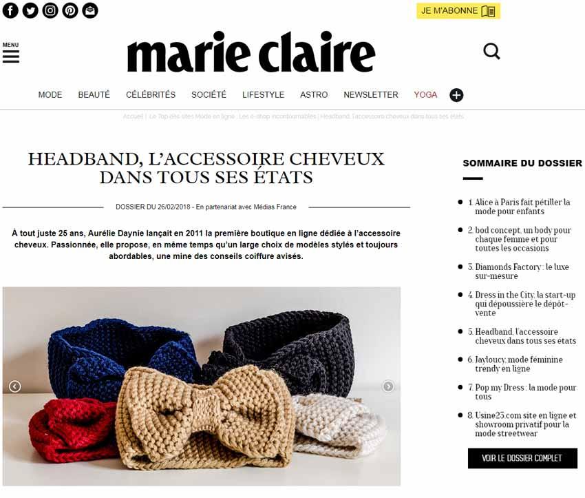 Headband.fr dans les adresses incontournables de marie claire
