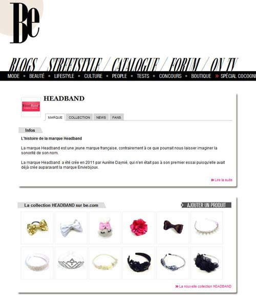Headband.fr sur le webzine de Be