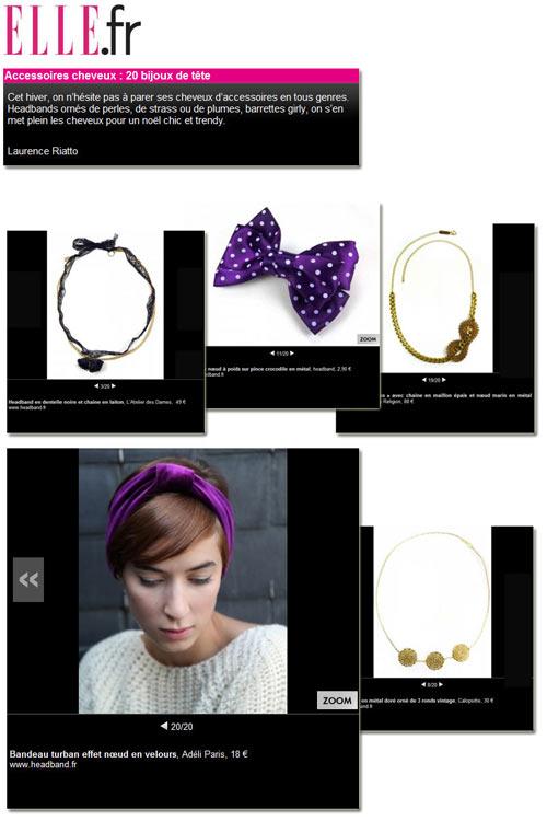 Parution de nos headbands sur Elle.fr