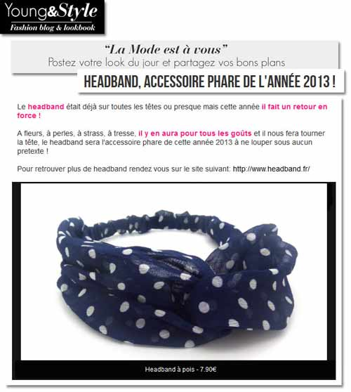 Headband.fr dans la sélection headbands de Young&Style